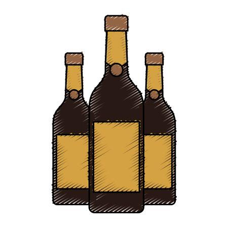 three champagne bottles drink beverage event christmas vector illustration
