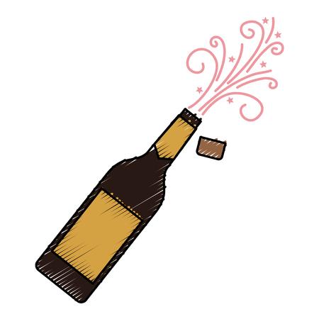 샴페인 병 폭발 음료 축하 벡터 일러스트 레이션 일러스트