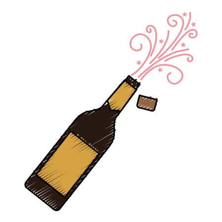 champagne bottle explosion drink celebration vector illustration