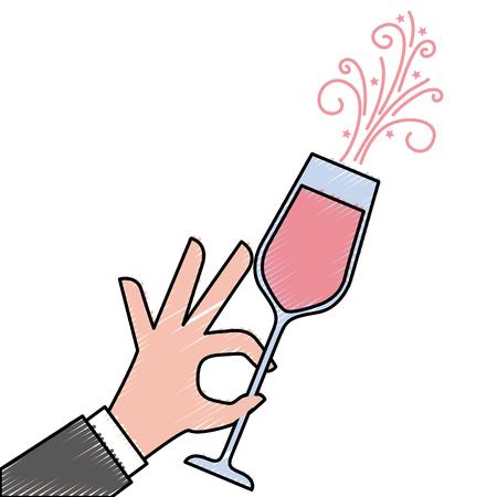 Mano che tiene il bicchiere di champagne acclamazioni illustrazione vettoriale celebrazione Archivio Fotografico - 90132982