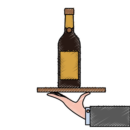 waiter hand holding tray with wine bottle vector illustration