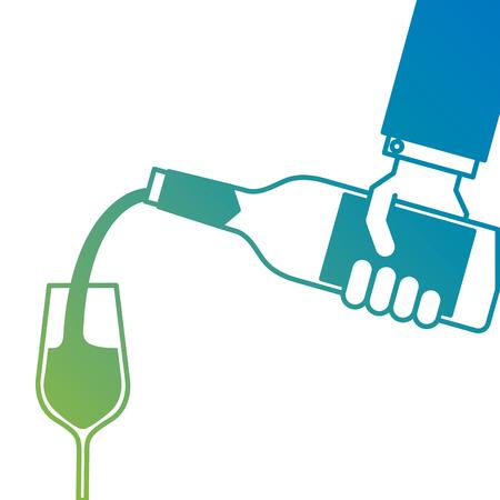 Main de garçon tenant une bouteille de vin et verser des verres d'illustration vectorielle de vin Banque d'images - 90132990