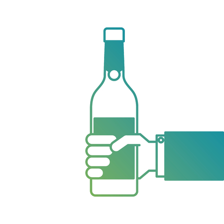 holding a bottle of wine or champagne drink vector illustration Banco de Imagens - 90132991