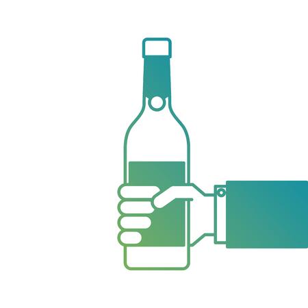 met een fles wijn of champagne drinken vectorillustratie