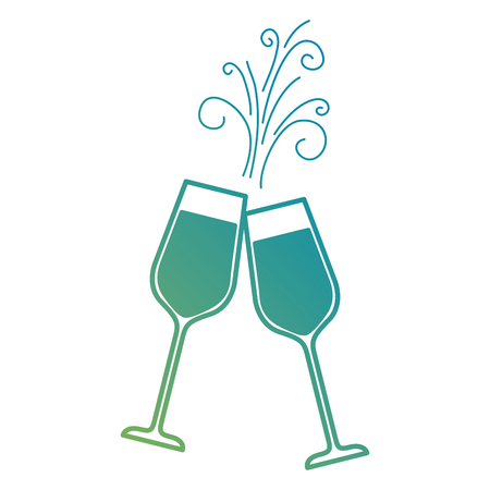 Paar Champagner Glas Prost Getränke funkeln Vektor-Illustration Standard-Bild - 90133173