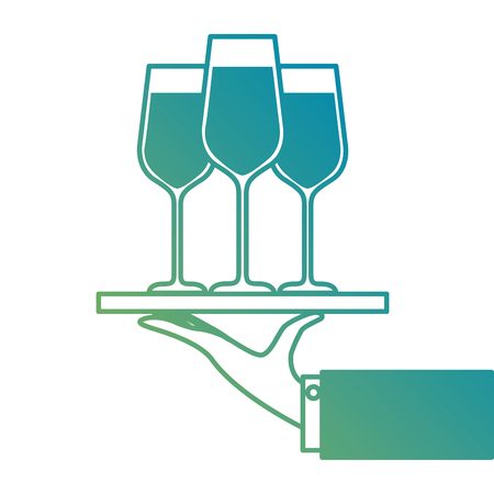 hand holding tray with champagne wine glasses service vector illustration Imagens - 90133282