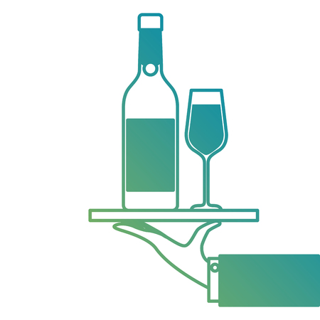 waiter hand holding tray with bottle glass of champagne for service vector illustration Imagens - 90133285