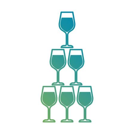 pyramid of glass goblets alcoholic champagne drink vector illustration Ilustração