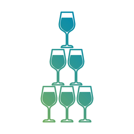 pyramid of glass goblets alcoholic champagne drink vector illustration Illustration