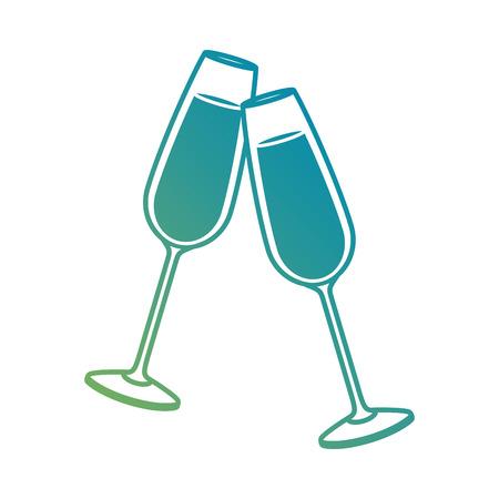 Paar Sekt Glas Prost trinken Feier Weihnachten Vektor-Illustration Standard-Bild - 90133348
