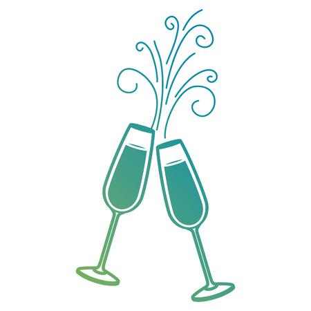 Paar Champagner Glas Prost Getränke funkeln Vektor-Illustration Standard-Bild - 90133353