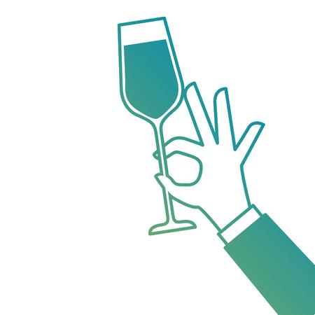 Mano sosteniendo ilustración de vector de celebración de aclamaciones de vidrio de champán Foto de archivo - 90133443
