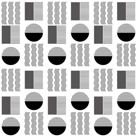 decorative ornament of geometric shapes black gray pattern vector illustration Ilustração