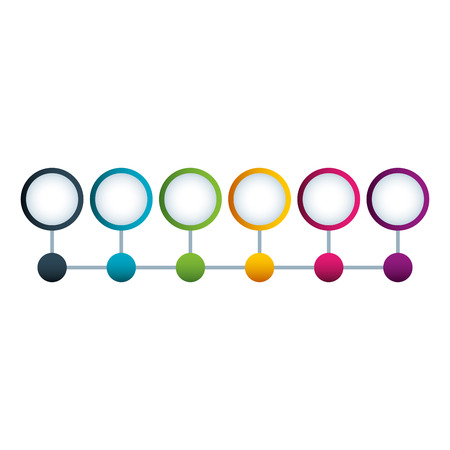 timeline circle and dots structure connected design vector illustration Vettoriali