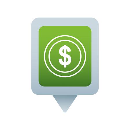money dollar social media square pointer web vector illustration