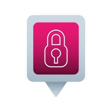 security social media square pointer web vector illustration
