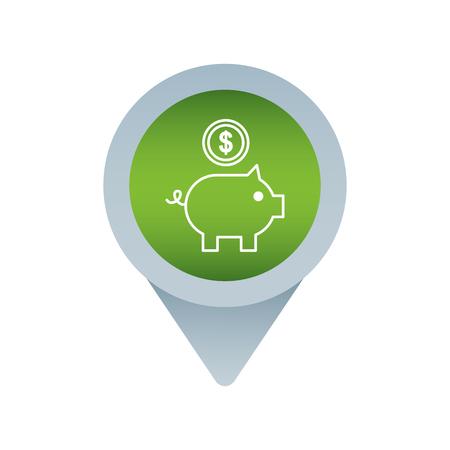 sociale media markeren aanwijzer voor web piggy munt bank vectorillustratie