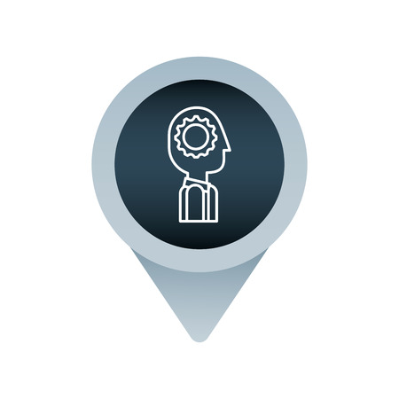 business man process mind social media mark pointer for web vector illustration Illustration