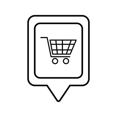 shopping cart online social media square pointer web vector illustration Illustration
