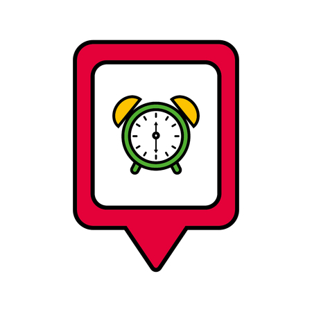 clock alarm social media square pointer web vector illustration