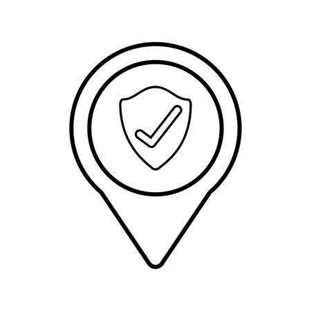 shield protection check social media round pointer web vector illustration