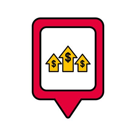 正方形のお金の成長銀行ソーシャル メディア ポインター web ベクトル図  イラスト・ベクター素材