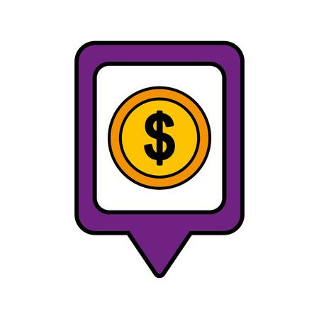 正方形のお金のドルのソーシャル メディア ポインター web ベクトル図