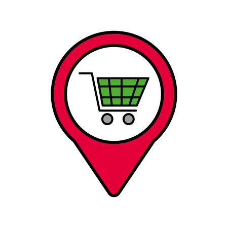 shopping cart online social media pointer web vector illustration