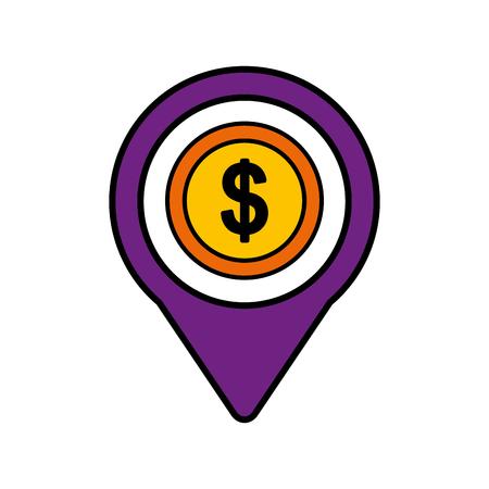 お金ドル社会的なメディア ラウンド ポインター web ベクトル図  イラスト・ベクター素材