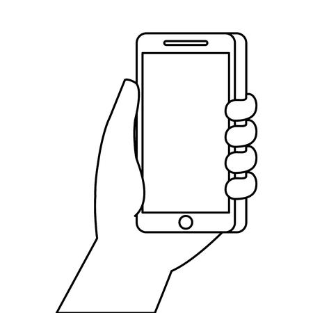 hand holding smartphone digital technology vector illustration Çizim