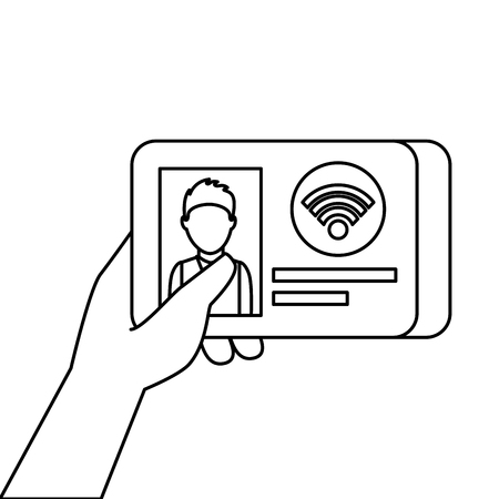 hand holding id card document wifi technology vector illustration