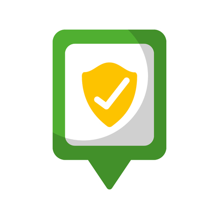 shield protection check social media square pointer web vector illustration