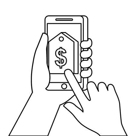 hand holding smartphone with price tag sale discount online vector illustration