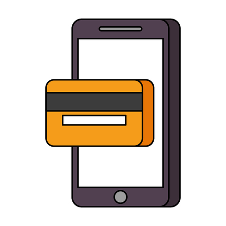 mobile phone online payment shop technology vector illustration