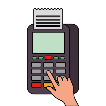 hand press button nfc payment mobile dataphone vector illustration