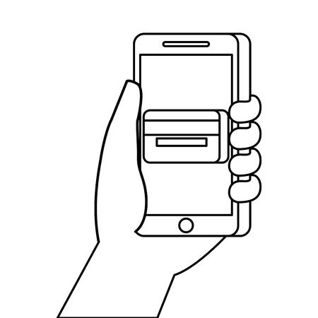 hand holding smartphone credit card bank online vector illustration