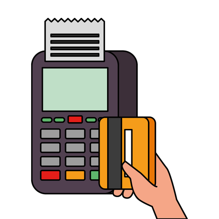 payment online dataphone hand holding credit card market vector illustration