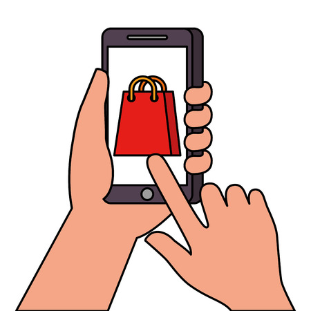 hand holding smartphone shopping bag ecommerce online vector illustration 向量圖像