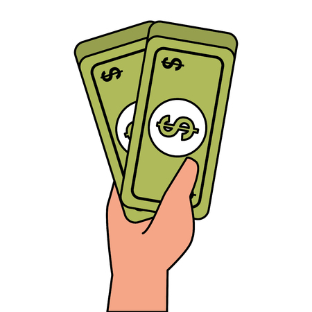 hand met bankbiljet geld contant dollar vectorillustratie Stock Illustratie