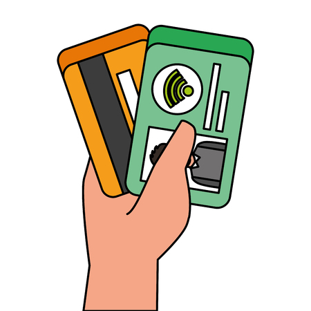 hand holding credit card and id card payment symbol vector illustration