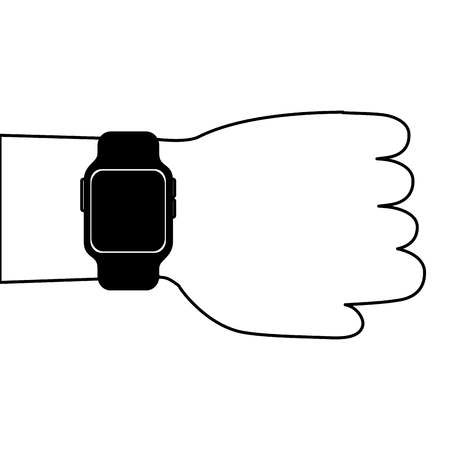 hand with smartwatch device technology digital vector illustration