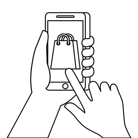 hand holding smartphone shopping bag ecommerce online vector illustration Illustration
