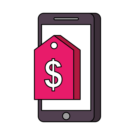 mobile phone online market price tag technology vector illustration