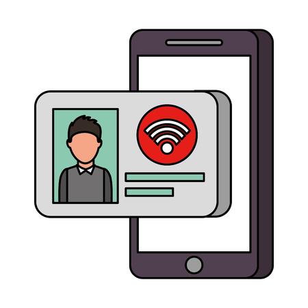 Id カード インター ネット オンライン技術のベクトル図と携帯電話 写真素材 - 90147920