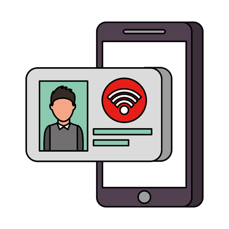 mobile phone with id card internet online technology vector illustration Иллюстрация