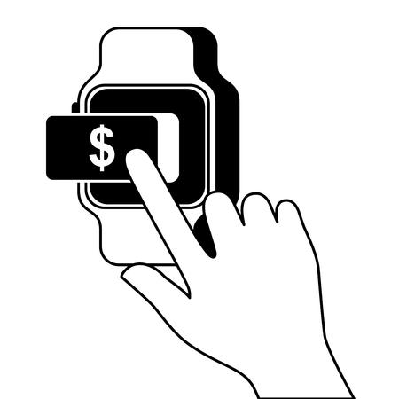 smartwatch payment money online button vector illustration
