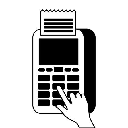 Bouton presse de la main nfc paiement paiement mobile illustration vectorielle Banque d'images - 90148034
