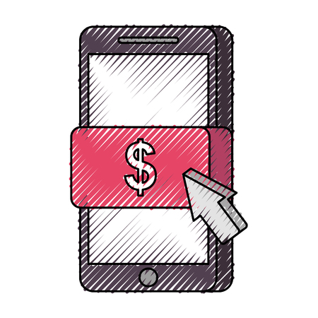 mobile phone online payment technology vector illustration Illustration