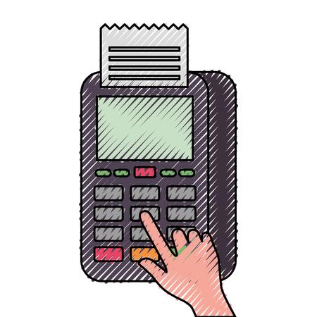 Bouton presse de la main nfc paiement paiement mobile illustration vectorielle Banque d'images - 90148149
