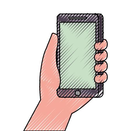 hand holding smartphone digital technology vector illustration Illusztráció